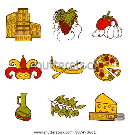 Set of cartoon objects in hand drawn style on Italy theme: gondola, food, mask, pisa, coliseum, olive oil, Vector travel concept for your design - stock vector