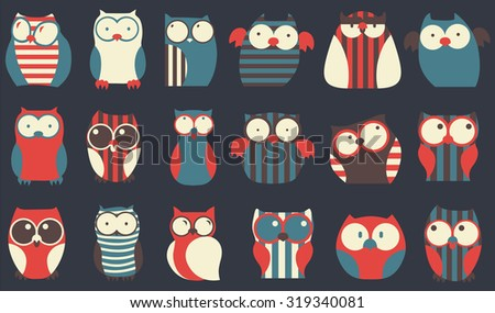 Set of cartoon owls with various emotions. Vector flat illustration. - stock vector