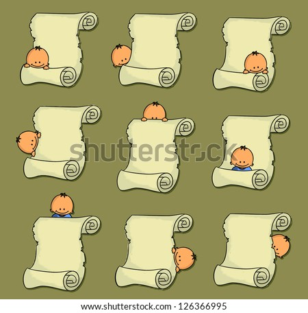 Set of cartoon parchment with baby (vector) - stock vector