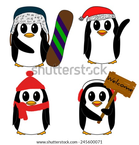 Set of cartoon penguin vector illustration - stock vector