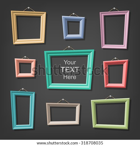 Set of cartoon picture frames. Global colors - easy to change. - stock vector