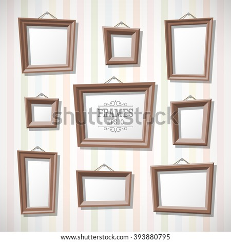 Set of cartoon picture frames on wall. Blank photo frames in flat style. - stock vector