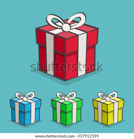 Set of Cartoon Presents.  Isolated Vector Elements. Color Background - stock vector