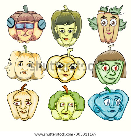 set of cartoon pumpkin in various expression face - stock vector