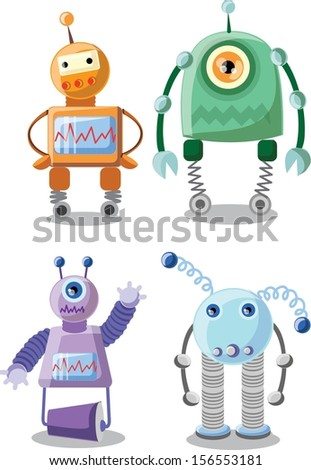 Set of cartoon robots - vector