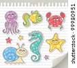 set of cartoon sea creatures, vector stickers - stock vector