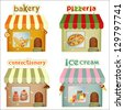 Set of Cartoon Shops. Bakery, Pizzeria, Confectionery, Ice Cream Shop Isolated on White Background. Vector Illustration. - stock photo
