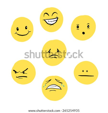 Set of Cartoon Smilies - stock vector