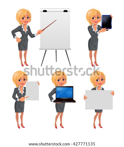 Set of cartoon smiling businesswoman in suit standing in different presentation poses: with flip chart, laptop, tablet, presentation board and paper. Vector illustration isolated on white background. - stock vector