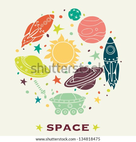 Set of cartoon space elements: rockets, planets and stars. Childish background. Vector illustration. - stock vector