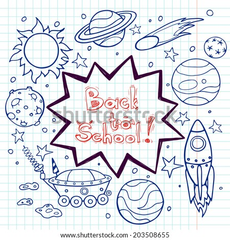 Set of cartoon space elements: rockets, planets and stars. Hand drawn doodle objects on squared notebook paper background. Childish back to school frame with text box. - stock vector