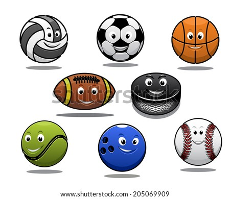 Set of cartoon sports balls equipment with a volleyball basketball soccer or football rugby ball hockey puck tennis ball, bowls and baseball for sporting logo design - stock vector