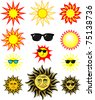 set of cartoon sun illustrations, in vector format individual objects very easy to edit - stock vector