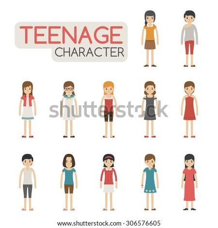 Set of cartoon teenagers characters , eps10 vector format - stock vector