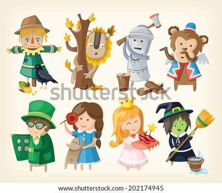 Set of cartoon toy personages from fairy tales - stock vector