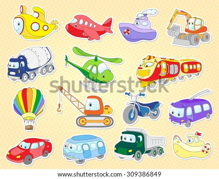Set of cartoon transport: plane, train, bus, car, helicopter, van, vehicle, aircraft, taxi, crane, excavator. Vector illustration for kids - stock vector