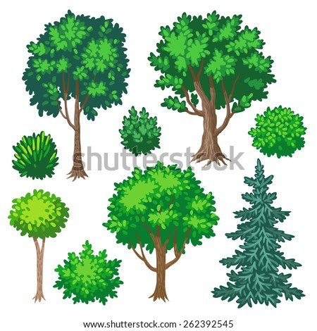 Set Of Cartoon Trees And Shrubs Isolated On White Background Stock