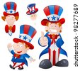 Set of Cartoon Uncle Sam - stock vector