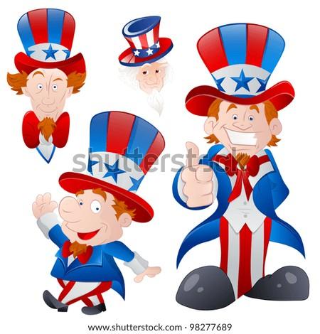 Set of Cartoon Uncle Sam - stock vector