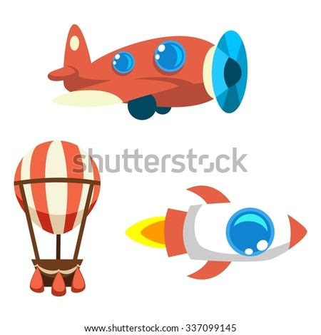 Set of cartoon vector objects: air balloon, vintage aircraft and rocket - stock vector