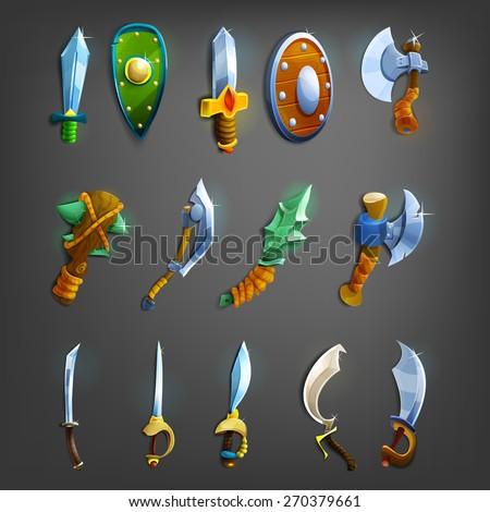 Set of cartoon weapons. Vector illustration. - stock vector