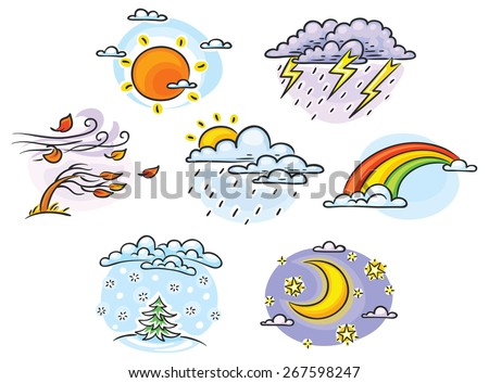 Set Cartoon Weather Illustrations Hand Drawn Stock Vector ...