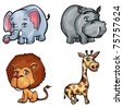 Set of cartoon wild animals isolated on white - stock vector