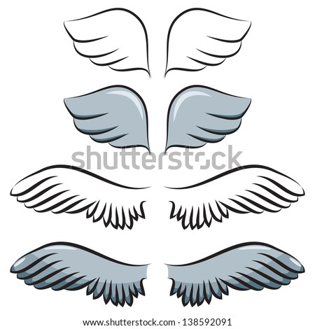 set of cartoon wings. Two pair. Contour and painted - stock vector