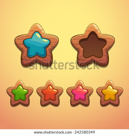 Set of cartoon wooden stars, vector design elements - stock vector