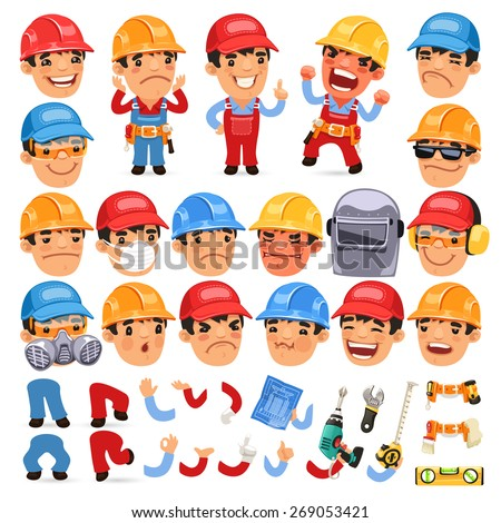Set of Cartoon Worker Character for Your Design or Animation. Isolated on White Background. - stock vector