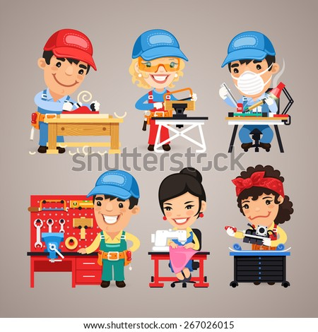Set of Cartoon Workers at their Work Desks. In the EPS file, each element is grouped separately. - stock vector