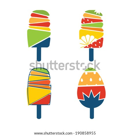 Set of cartoonish ice cream  - stock vector