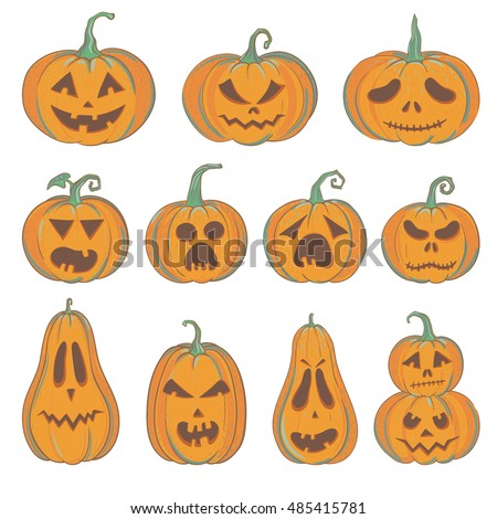 Etonnant Set Of Carved Halloween Pumpkins With Funny And Scared Faces, Vector  Pumpkins Isolated On White