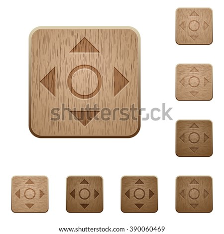 Set of carved wooden scroll buttons in 8 variations.