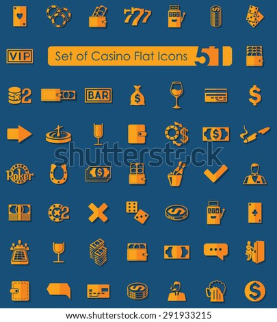 Set of casino flat icons for Web and Mobile Applications - stock vector