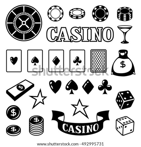 Set of casino gambling game objects and icons.