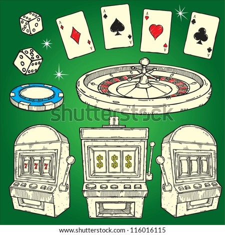 Set of Casino icons, isolated on green - stock vector