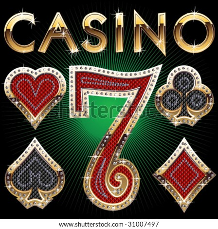 set of casino's items - stock vector
