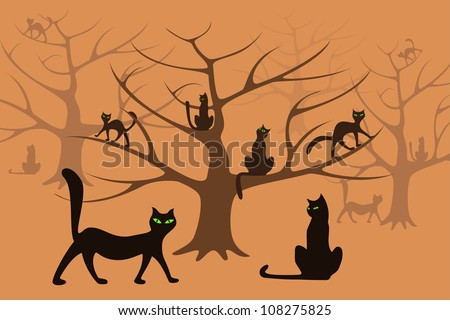Set of cat's silhouettes placed in the magic pink forest