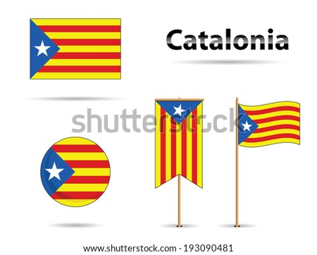 set of catalonia flags, europe zone - stock vector