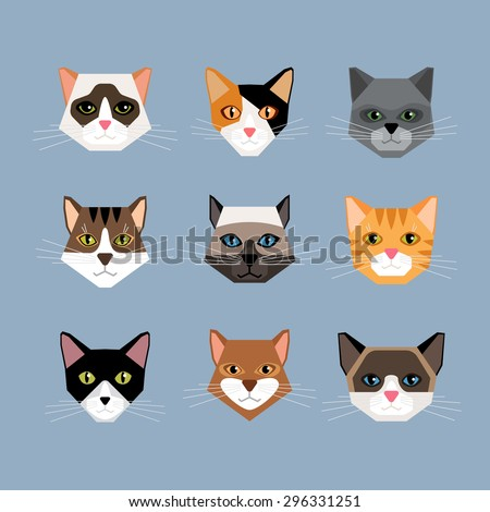 Set of cats heads in flat style. Face kitten, whiskers and ears, muzzle and wool. Vector illustration - stock vector