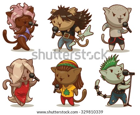 Set of cats singing songs in different styles, pop, rock, rap, punk and others, 6 characters, vector - stock vector