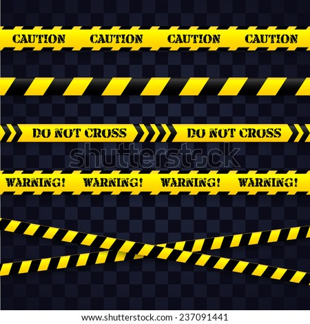 Set of caution tapes. Vector editable illustration. - stock vector