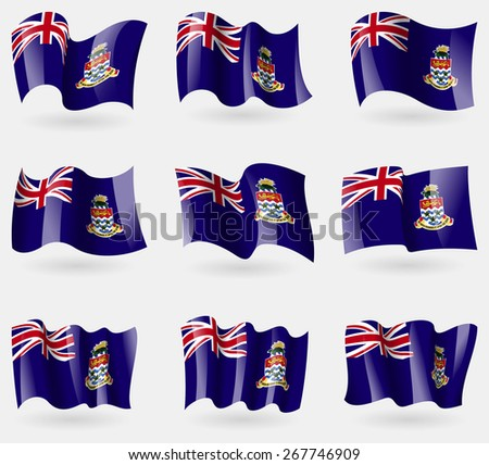 Set of Cayman Islands flags in the air. Vector illustration - stock vector