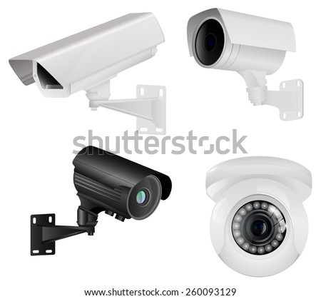Set of CCTV security camera. Vector Illustration isolated on white background. - stock vector
