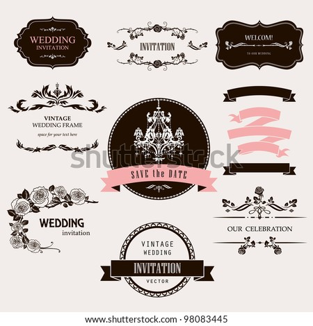 Set of celebration frames and labels with vintage design. - stock vector
