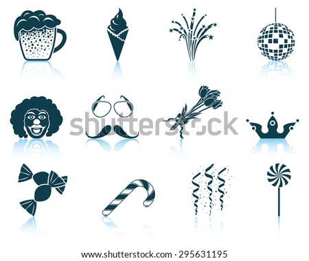 Set of celebration icons. EPS 10 vector illustration without transparency. - stock vector
