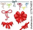 Set of celebratory bows - stock vector