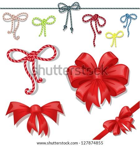 Set of celebratory bows - stock vector