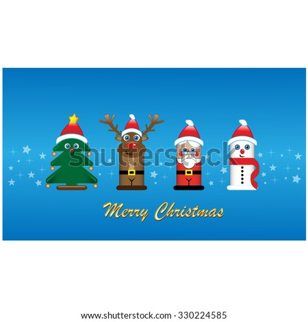 Set of celebrities Christmas characters on blue background